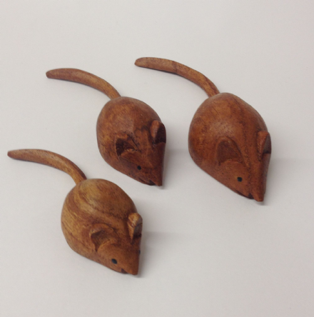 Carved Wooden Family of Mice ~ Set of 3 Ornaments